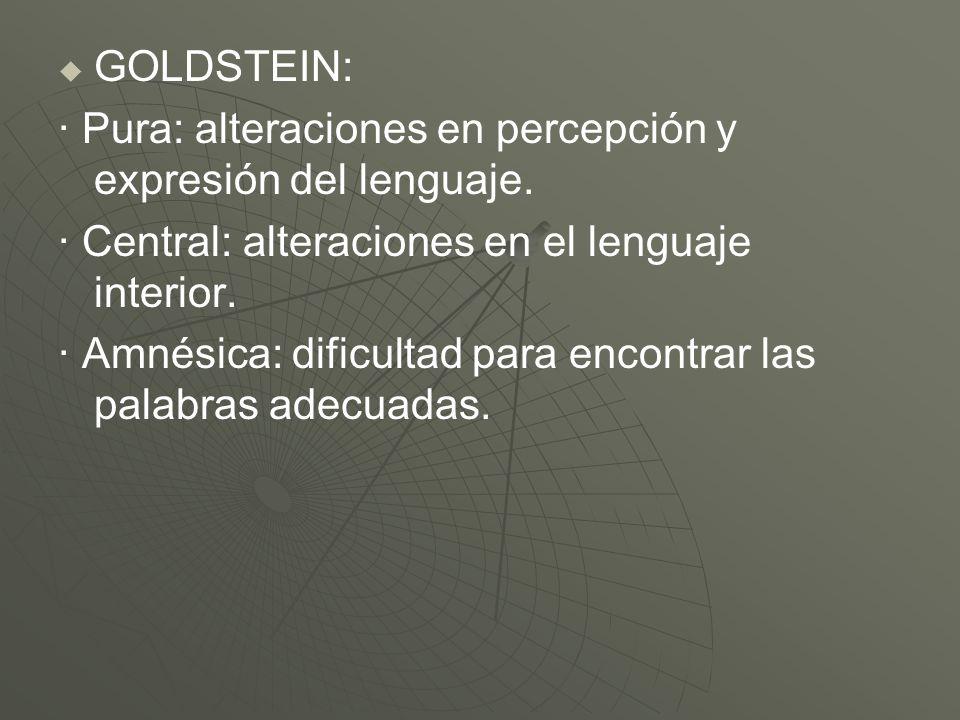 GOLDSTEIN: · Pura: alteraciones en percepción y expresión del lenguaje. · Central: alteraciones en el lenguaje interior. · Amnésica: dificultad para e
