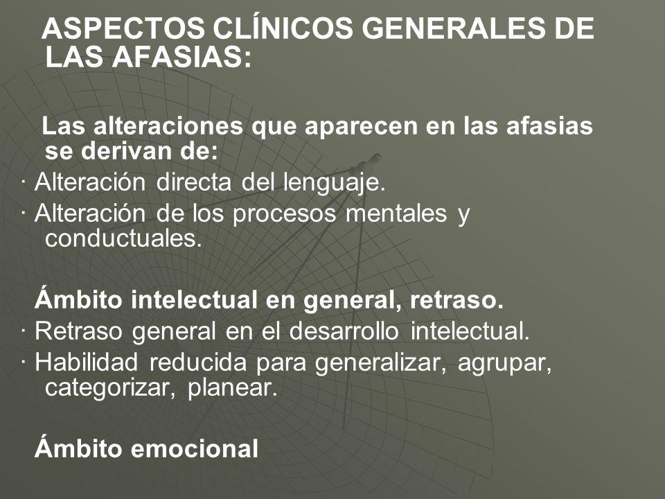 ASPECTOS CLÍNICOS GENERALES DE LAS AFASIAS: Las alteraciones que aparecen en las afasias se derivan de: · Alteración directa del lenguaje. · Alteració