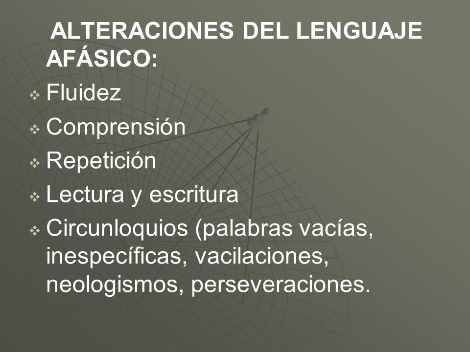ALTERACIONES DEL LENGUAJE AFÁSICO: Fluidez Comprensión Repetición Lectura y escritura Circunloquios (palabras vacías, inespecíficas, vacilaciones, neo
