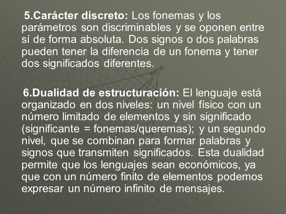 5.Carácter discreto: Los fonemas y los parámetros son discriminables y se oponen entre sí de forma absoluta. Dos signos o dos palabras pueden tener la