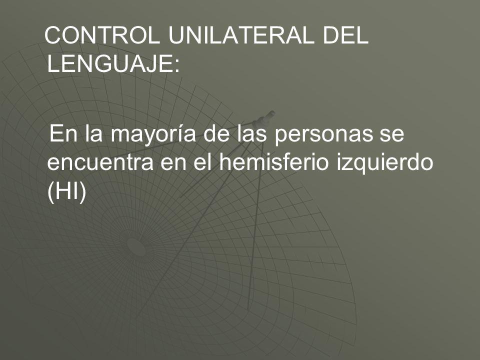 CONTROL UNILATERAL DEL LENGUAJE: En la mayoría de las personas se encuentra en el hemisferio izquierdo (HI)