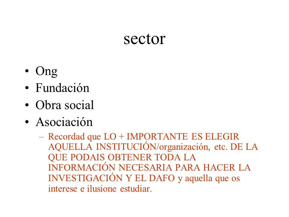 sector Ong Fundación Obra social Asociación –Recordad que LO + IMPORTANTE ES ELEGIR AQUELLA INSTITUCIÓN/organización, etc. DE LA QUE PODAIS OBTENER TO