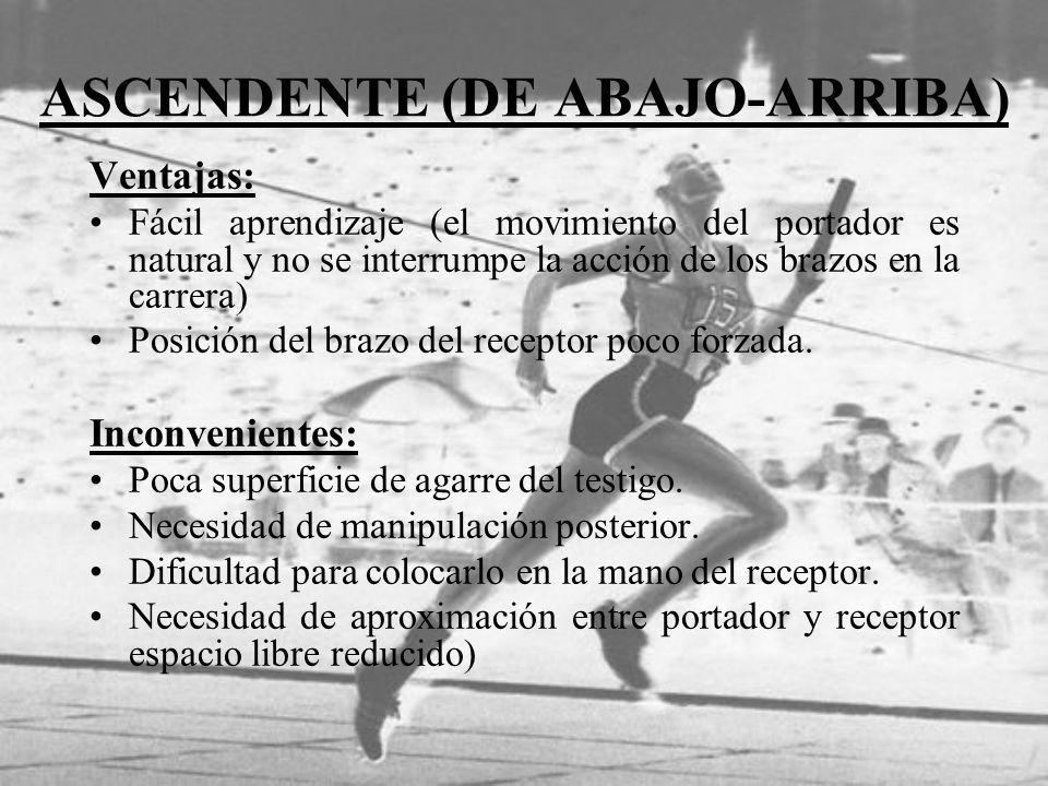 ASCENDENTE (DE ABAJO-ARRIBA) Ventajas: Fácil aprendizaje (el movimiento del portador es natural y no se interrumpe la acción de los brazos en la carre