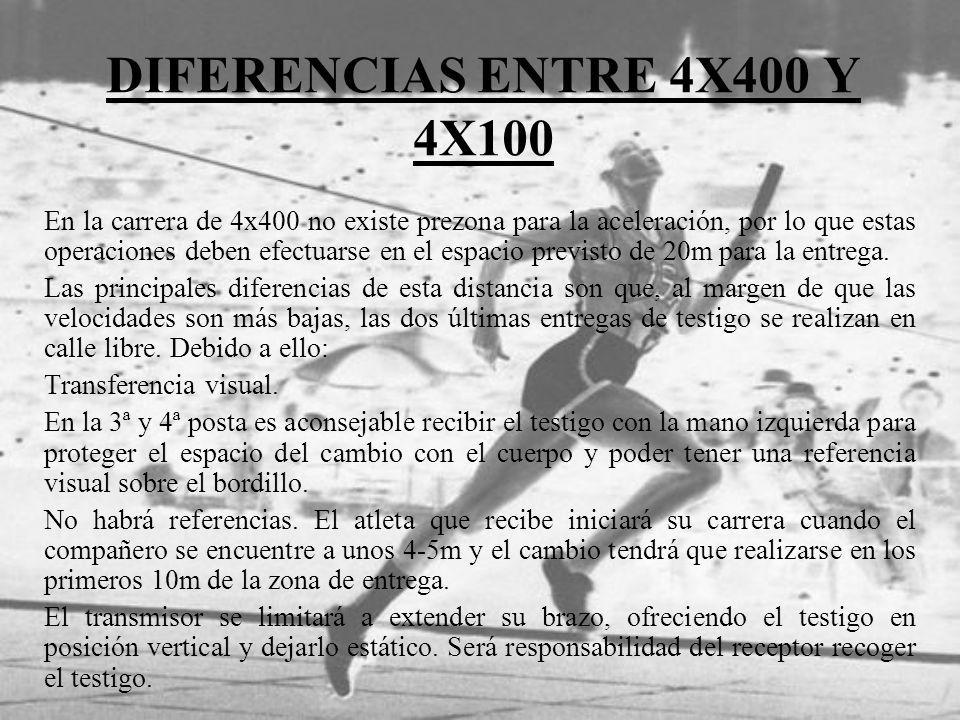 DIFERENCIAS ENTRE 4X400 Y 4X100 En la carrera de 4x400 no existe prezona para la aceleración, por lo que estas operaciones deben efectuarse en el espa