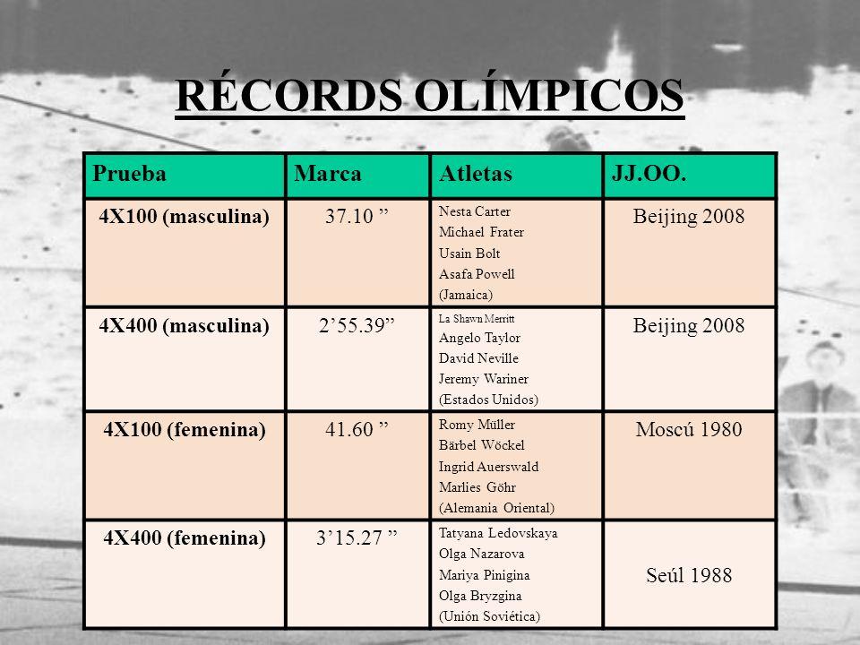 RÉCORDS OLÍMPICOS PruebaMarcaAtletasJJ.OO. 4X100 (masculina)37.10 Nesta Carter Michael Frater Usain Bolt Asafa Powell (Jamaica) Beijing 2008 4X400 (ma