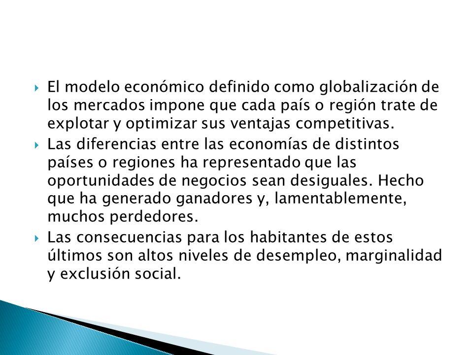 El modelo económico definido como globalización de los mercados impone que cada país o región trate de explotar y optimizar sus ventajas competitivas.