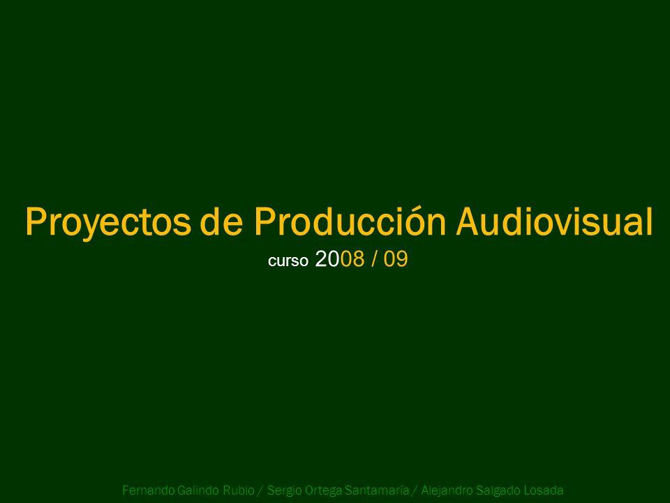 Proyectos de Producción Audiovisual curso 2008 / 09 Fernando Galindo Rubio / Sergio Ortega Santamaría / Alejandro Salgado Losada