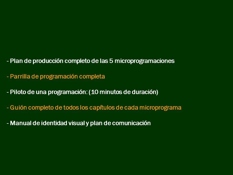 - Plan de producción completo de las 5 microprogramaciones - Parrilla de programación completa - Piloto de una programación: (10 minutos de duración)