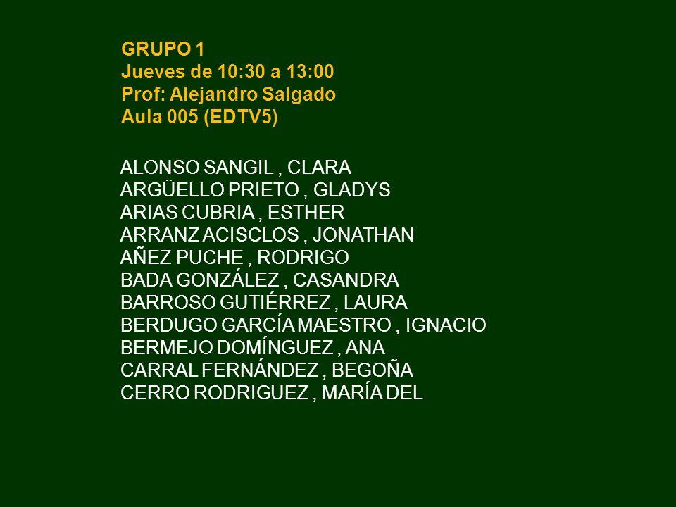 GRUPO 2 Miércoles de 8:00 a 10:30 Prof: Sergio Ortega Aula 007 (EDTV6) CONDE CAMBA, VÍCTOR CRISTÓBAL BUENO, BEATRIZ DÍEZ MÉNDEZ, JESÚS DÍEZ VEIGA, ALFONSO DOMÍNGUEZ NEVADO, ANA BELÉN DUARTE PAREDES, JUAN SEBASTIÁN DíAZ ROMERO, SERGIO ELORZA AZOFRA, PATRICIA ESCAJA DOMÍNGUEZ, MARÍA EUGENIA FERNÁNDEZ ABELENDA, MIGUEL FERNÁNDEZ FERNÁNDEZ, LIDIA