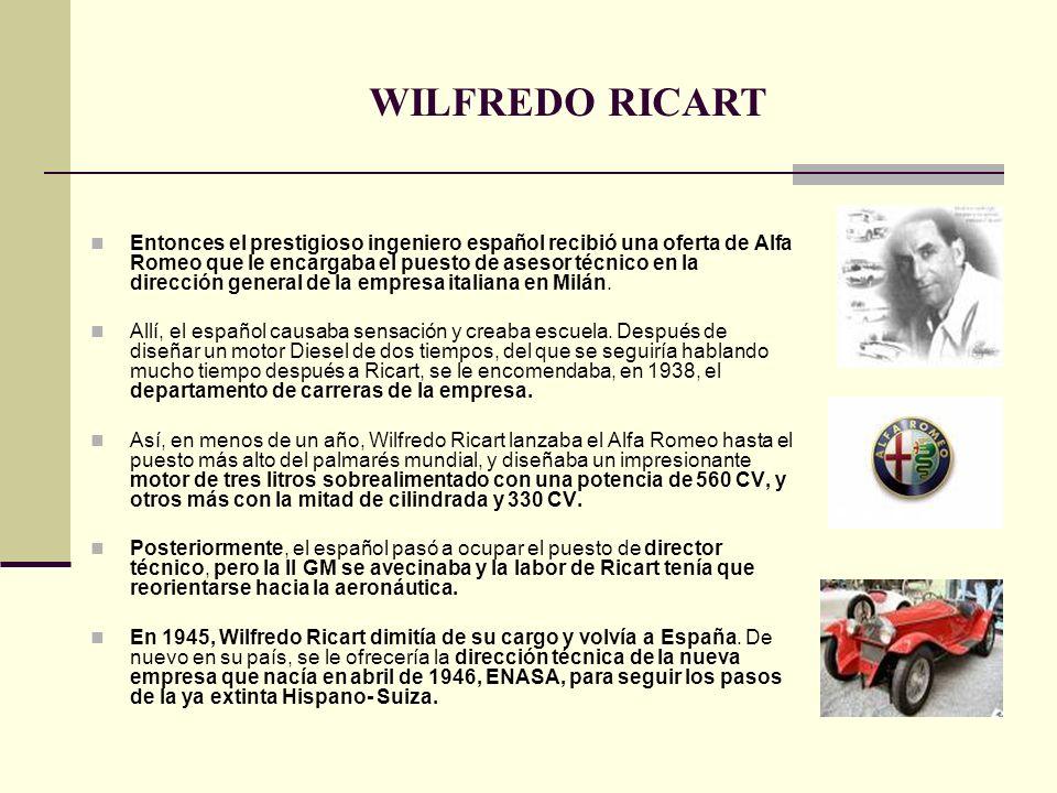 Entonces el prestigioso ingeniero español recibió una oferta de Alfa Romeo que le encargaba el puesto de asesor técnico en la dirección general de la