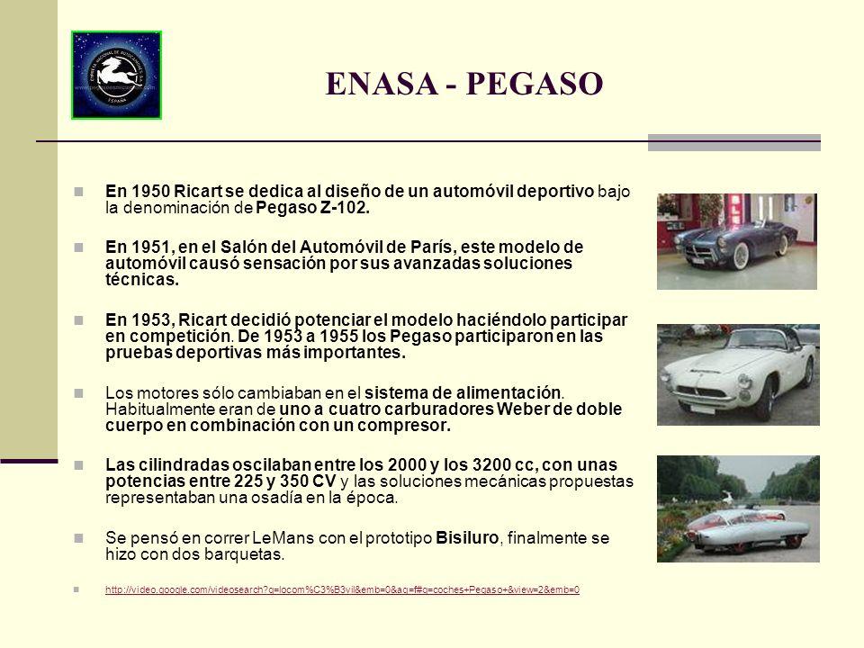 En 1950 Ricart se dedica al diseño de un automóvil deportivo bajo la denominación de Pegaso Z-102. En 1951, en el Salón del Automóvil de París, este m
