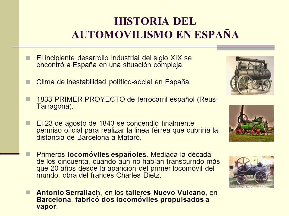 HISTORIA DEL AUTOMOVILISMO EN ESPAÑA El incipiente desarrollo industrial del siglo XIX se encontró a España en una situación compleja. Clima de inesta