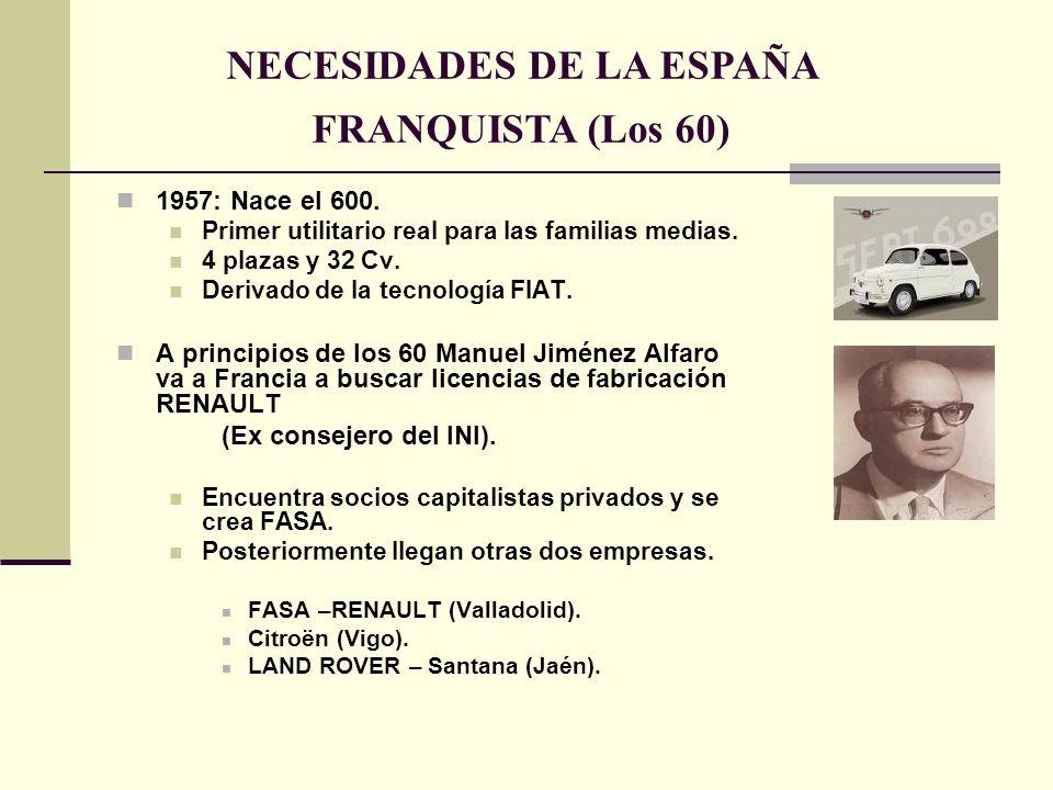 1957: Nace el 600. Primer utilitario real para las familias medias. 4 plazas y 32 Cv. Derivado de la tecnología FIAT. A principios de los 60 Manuel Ji