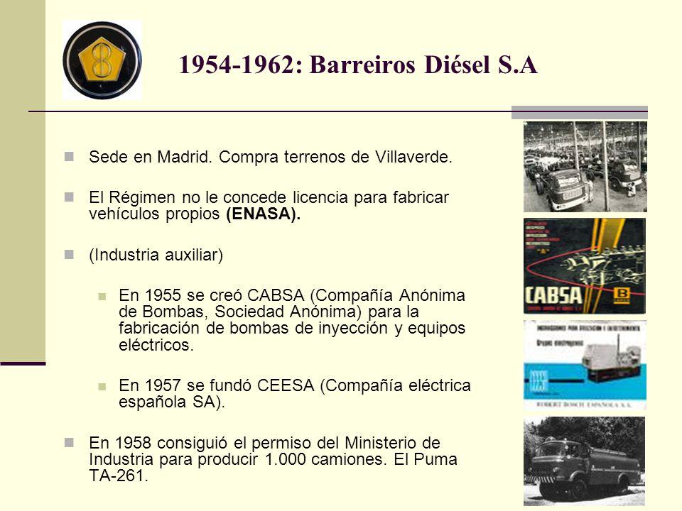 1954-1962: Barreiros Diésel S.A Sede en Madrid. Compra terrenos de Villaverde. El Régimen no le concede licencia para fabricar vehículos propios (ENAS