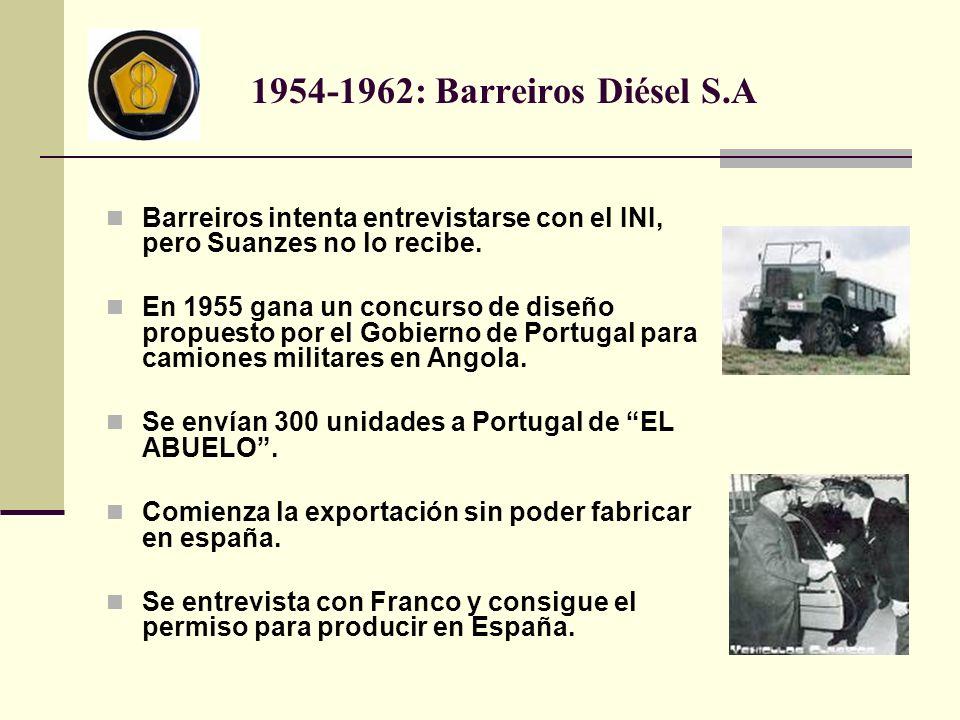 Barreiros intenta entrevistarse con el INI, pero Suanzes no lo recibe. En 1955 gana un concurso de diseño propuesto por el Gobierno de Portugal para c