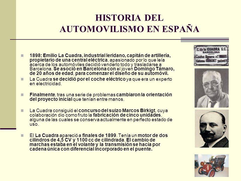 1898: Emilio La Cuadra, industrial leridano, capitán de artillería, propietario de una central eléctrica, apasionado por lo que leía acerca de los aut