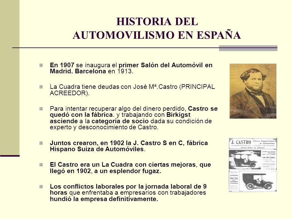 En 1907 se inaugura el primer Salón del Automóvil en Madrid. Barcelona en 1913. La Cuadra tiene deudas con José Mª.Castro (PRINCIPAL ACREEDOR). Para i