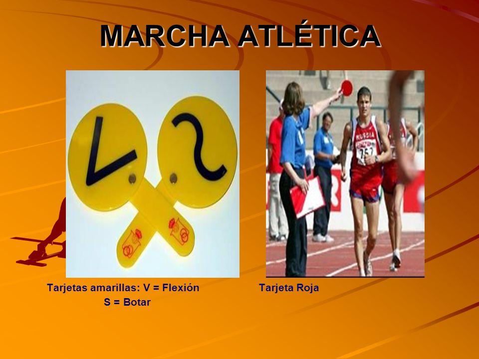 MARCHA ATLÉTICA Tarjetas amarillas: V = Flexión Tarjeta Roja S = Botar