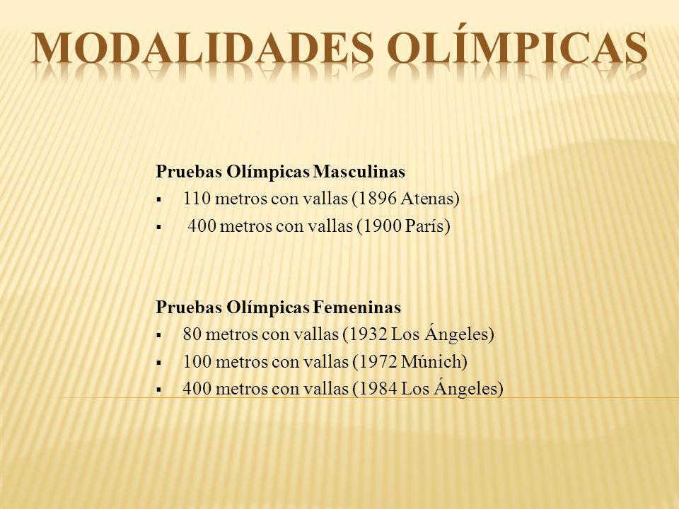 Pruebas Olímpicas Masculinas 110 metros con vallas (1896 Atenas) 400 metros con vallas (1900 París) Pruebas Olímpicas Femeninas 80 metros con vallas (