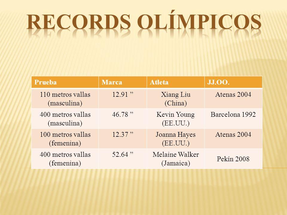 PruebaMarcaAtletaJJ.OO. 110 metros vallas (masculina) 12.91 Xiang Liu (China) Atenas 2004 400 metros vallas (masculina) 46.78 Kevin Young (EE.UU.) Bar