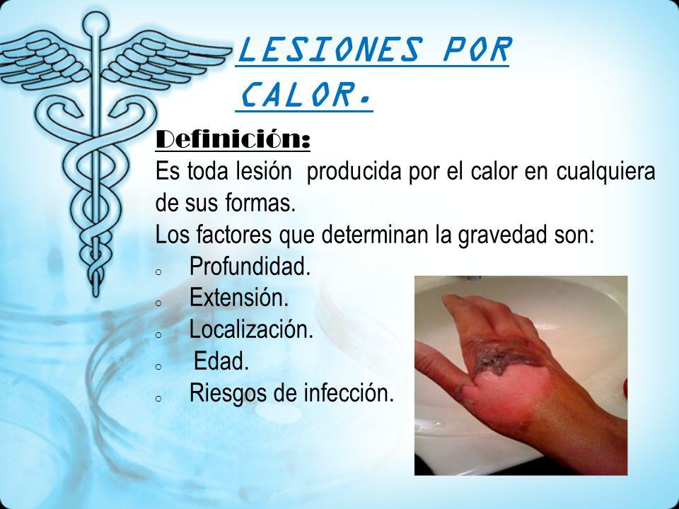 Clasificación: Según la profundidad se clasifican en tres grados: Primer grado o eritema: es el enrojecimiento de la piel.