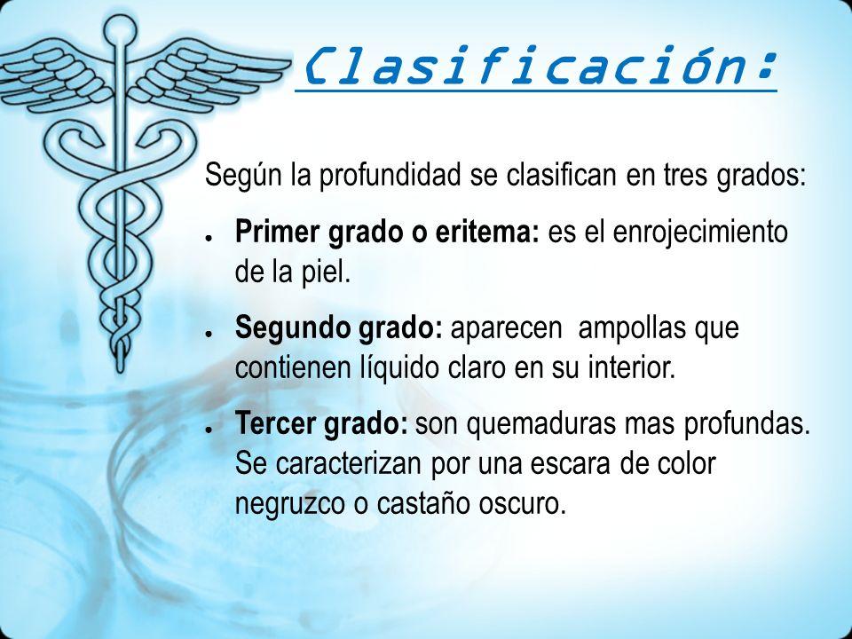 Clasificación: Según la profundidad se clasifican en tres grados: Primer grado o eritema: es el enrojecimiento de la piel. Segundo grado: aparecen amp