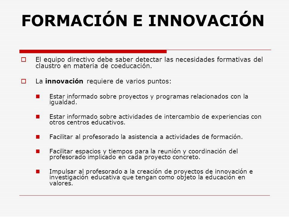 FORMACIÓN E INNOVACIÓN El equipo directivo debe saber detectar las necesidades formativas del claustro en materia de coeducación. La innovación requie