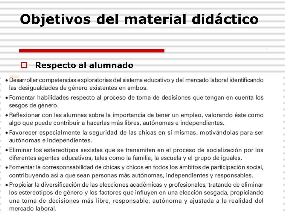 Objetivos del material didáctico Respecto al alumnado