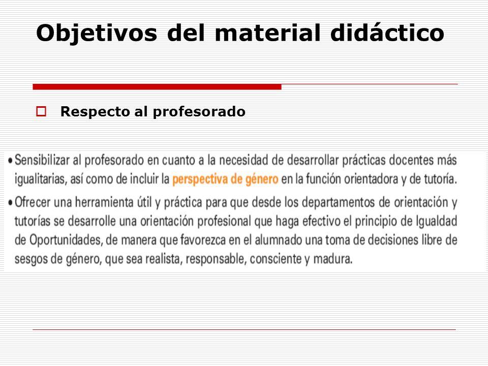 Objetivos del material didáctico Respecto al profesorado