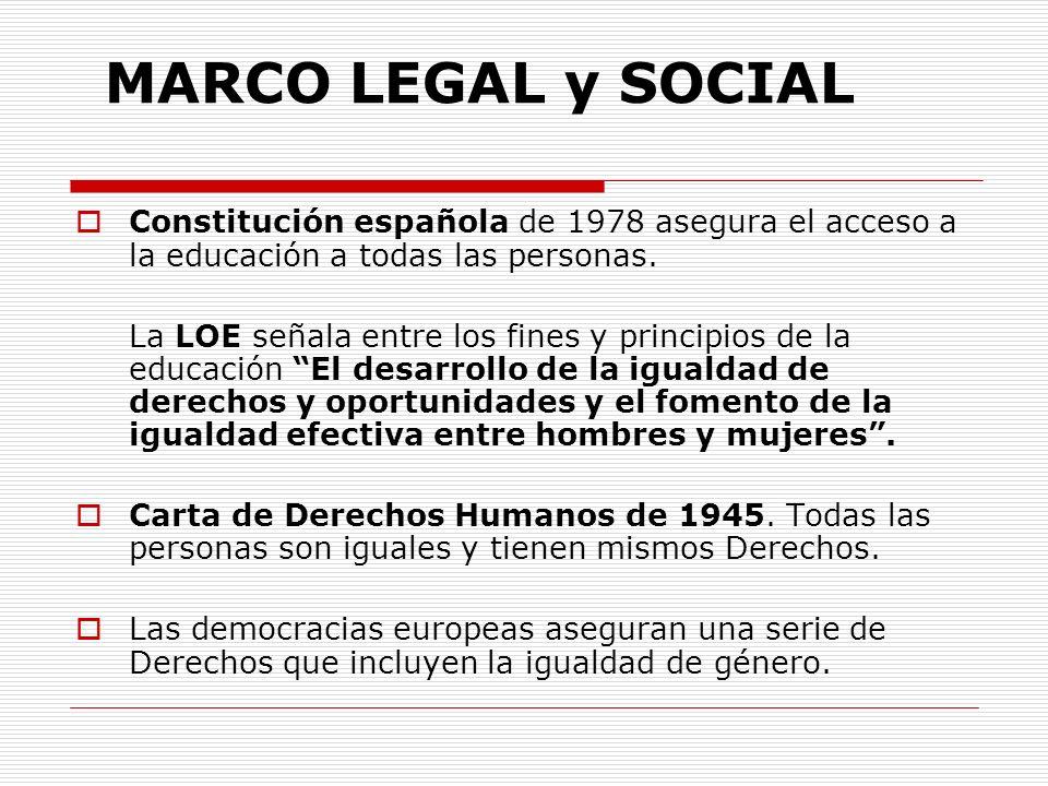 MARCO LEGAL y SOCIAL Constitución española de 1978 asegura el acceso a la educación a todas las personas. La LOE señala entre los fines y principios d