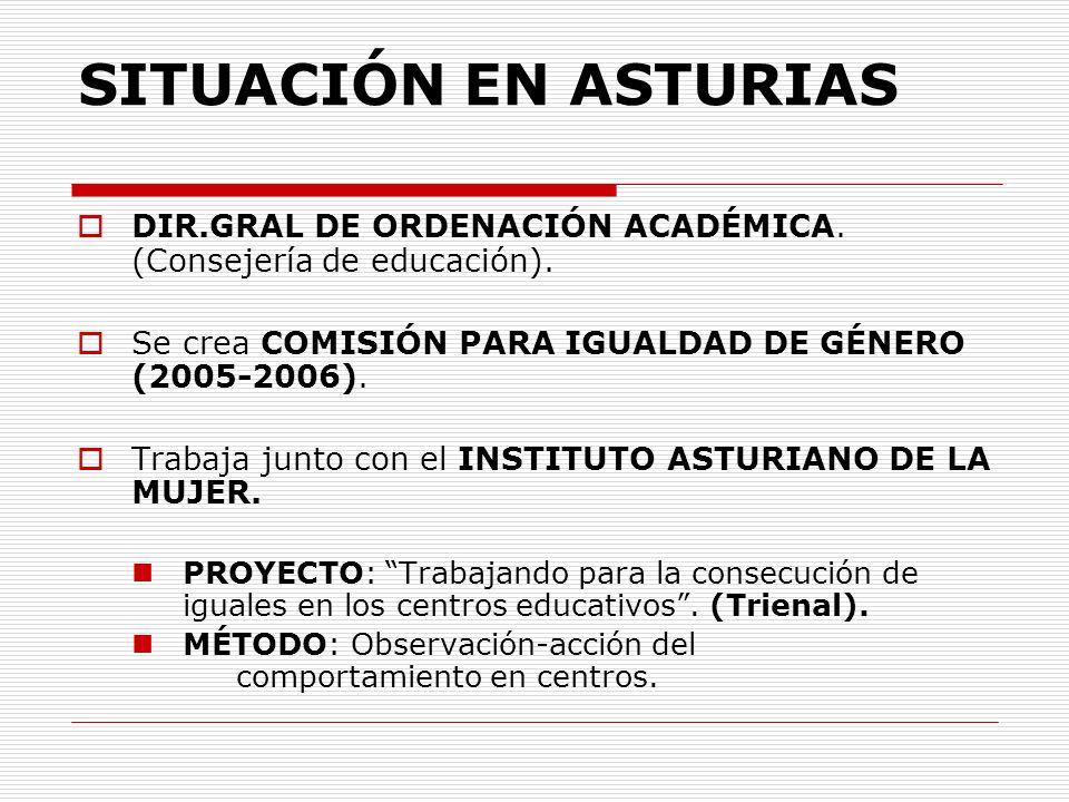 SITUACIÓN EN ASTURIAS DIR.GRAL DE ORDENACIÓN ACADÉMICA. (Consejería de educación). Se crea COMISIÓN PARA IGUALDAD DE GÉNERO (2005-2006). Trabaja junto
