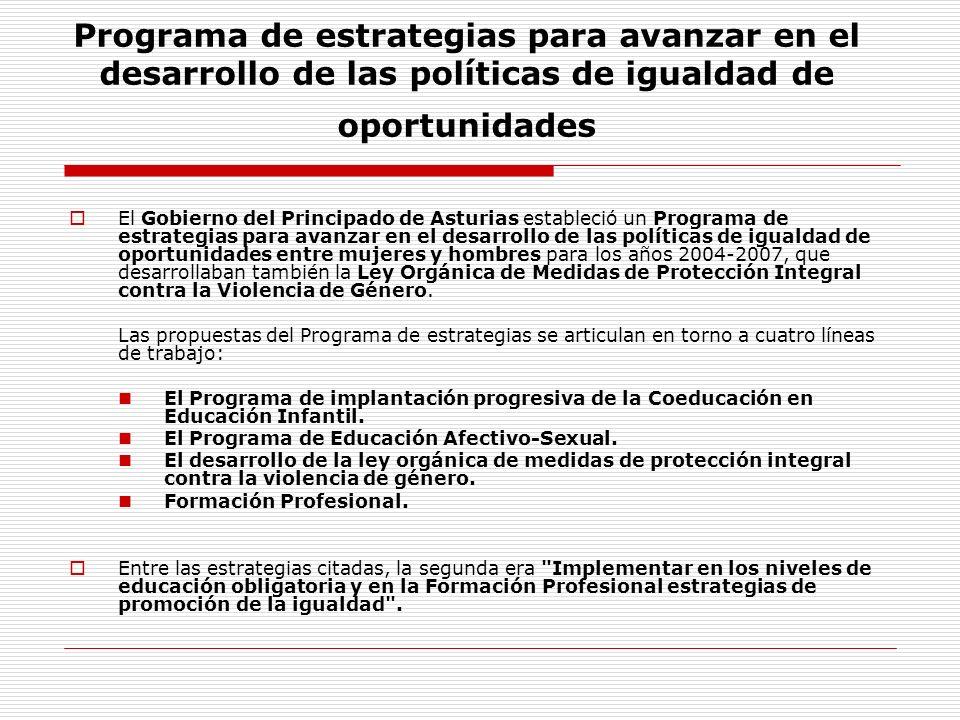 Programa de estrategias para avanzar en el desarrollo de las políticas de igualdad de oportunidades El Gobierno del Principado de Asturias estableció