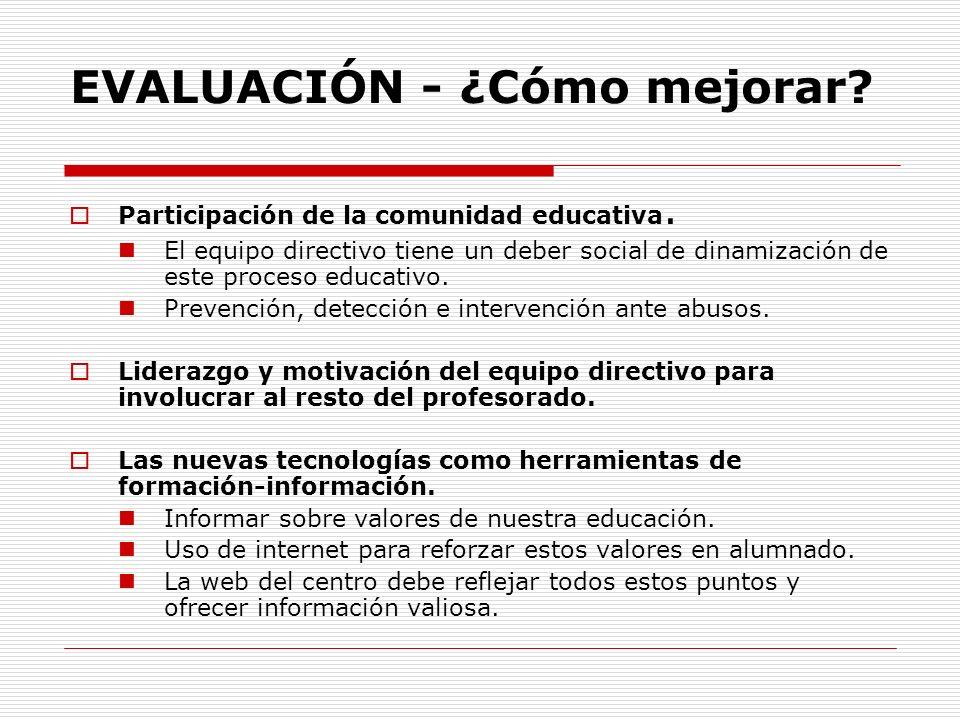 EVALUACIÓN - ¿Cómo mejorar? Participación de la comunidad educativa. El equipo directivo tiene un deber social de dinamización de este proceso educati