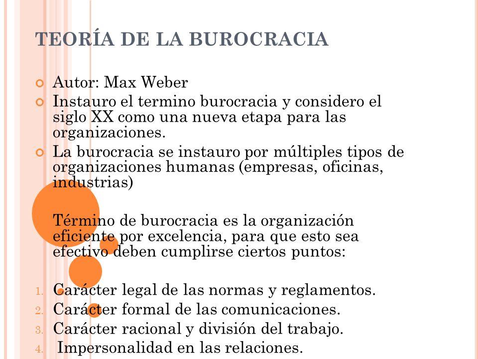 TEORÍA DE LA BUROCRACIA Autor: Max Weber Instauro el termino burocracia y considero el siglo XX como una nueva etapa para las organizaciones. La buroc