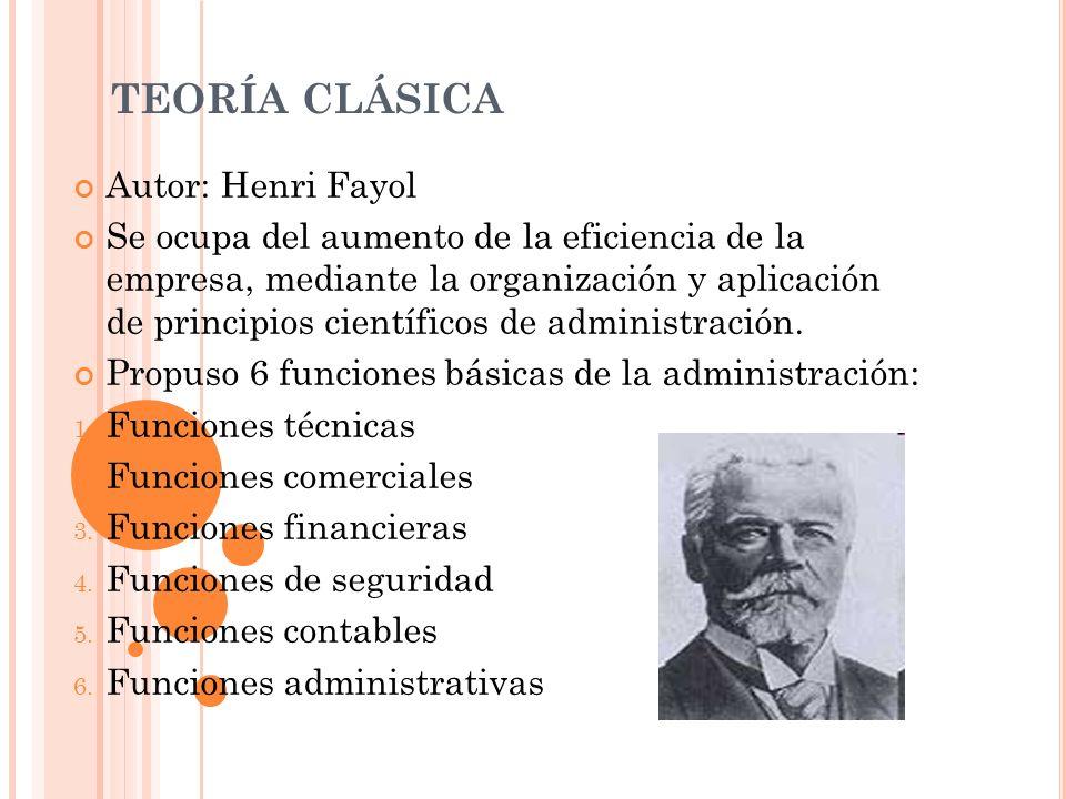 Autor: Henri Fayol Se ocupa del aumento de la eficiencia de la empresa, mediante la organización y aplicación de principios científicos de administrac