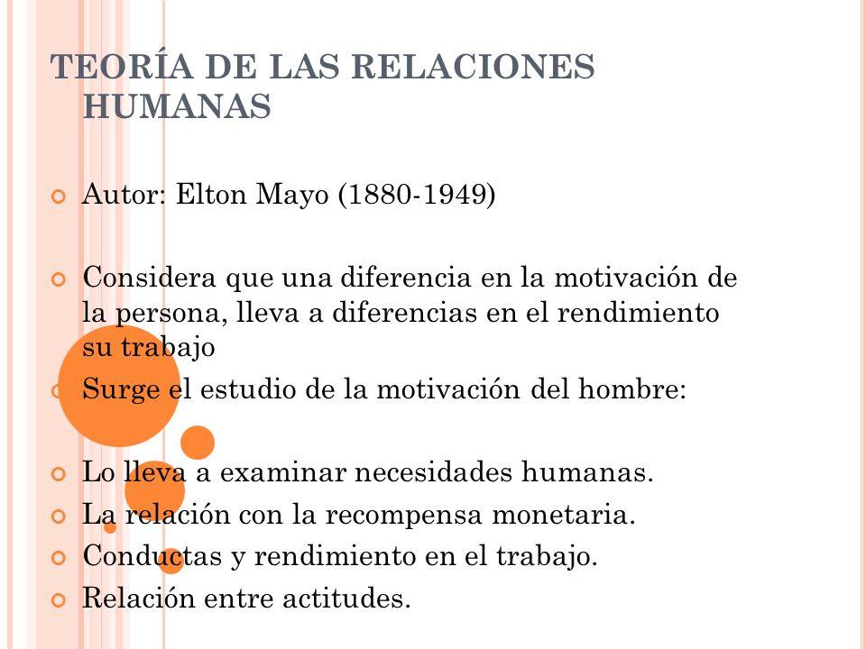 TEORÍA DE LAS RELACIONES HUMANAS Autor: Elton Mayo (1880-1949) Considera que una diferencia en la motivación de la persona, lleva a diferencias en el