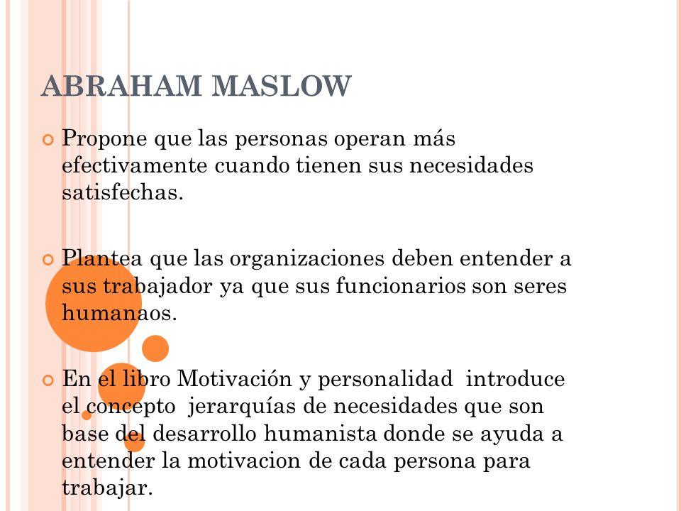 ABRAHAM MASLOW Propone que las personas operan más efectivamente cuando tienen sus necesidades satisfechas. Plantea que las organizaciones deben enten
