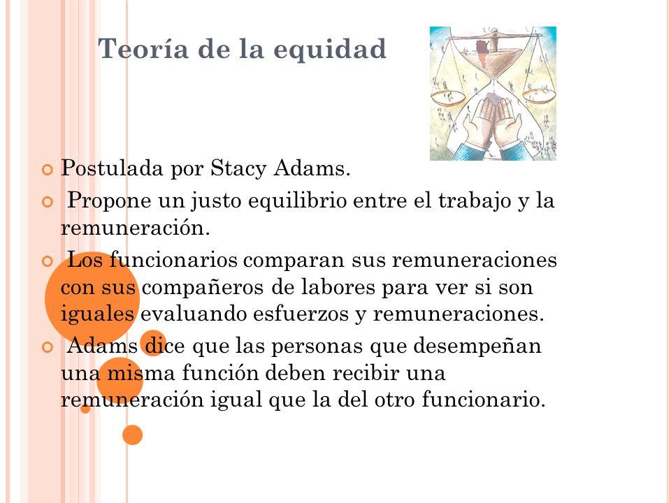 Teoría de la equidad Postulada por Stacy Adams. Propone un justo equilibrio entre el trabajo y la remuneración. Los funcionarios comparan sus remunera