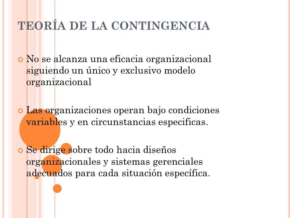 TEORÍA DE LA CONTINGENCIA No se alcanza una eficacia organizacional siguiendo un único y exclusivo modelo organizacional Las organizaciones operan baj