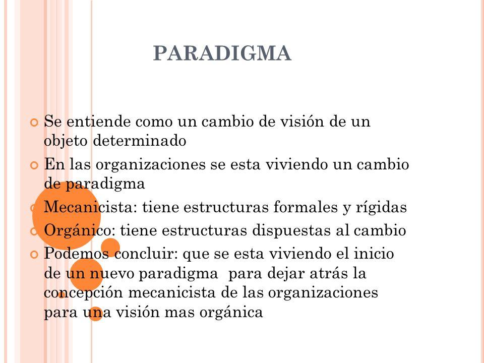 PARADIGMA Se entiende como un cambio de visión de un objeto determinado En las organizaciones se esta viviendo un cambio de paradigma Mecanicista: tie