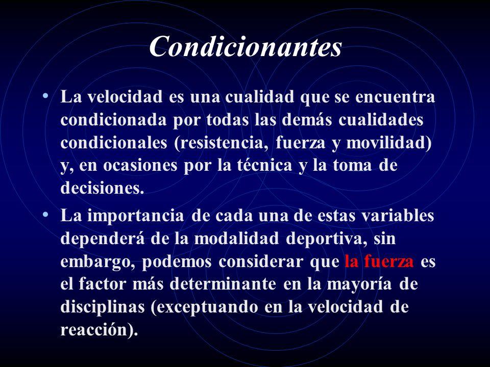 Condicionantes La velocidad es una cualidad que se encuentra condicionada por todas las demás cualidades condicionales (resistencia, fuerza y movilida
