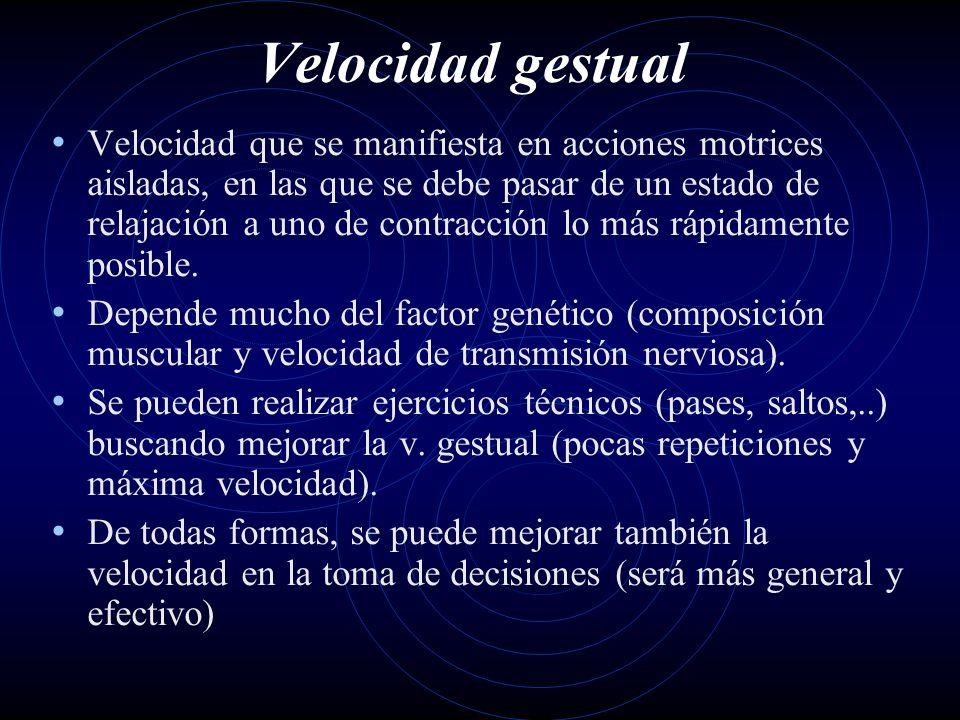 Velocidad gestual Velocidad que se manifiesta en acciones motrices aisladas, en las que se debe pasar de un estado de relajación a uno de contracción