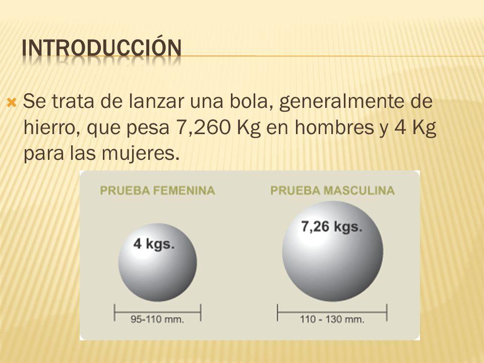 Se trata de lanzar una bola, generalmente de hierro, que pesa 7,260 Kg en hombres y 4 Kg para las mujeres.