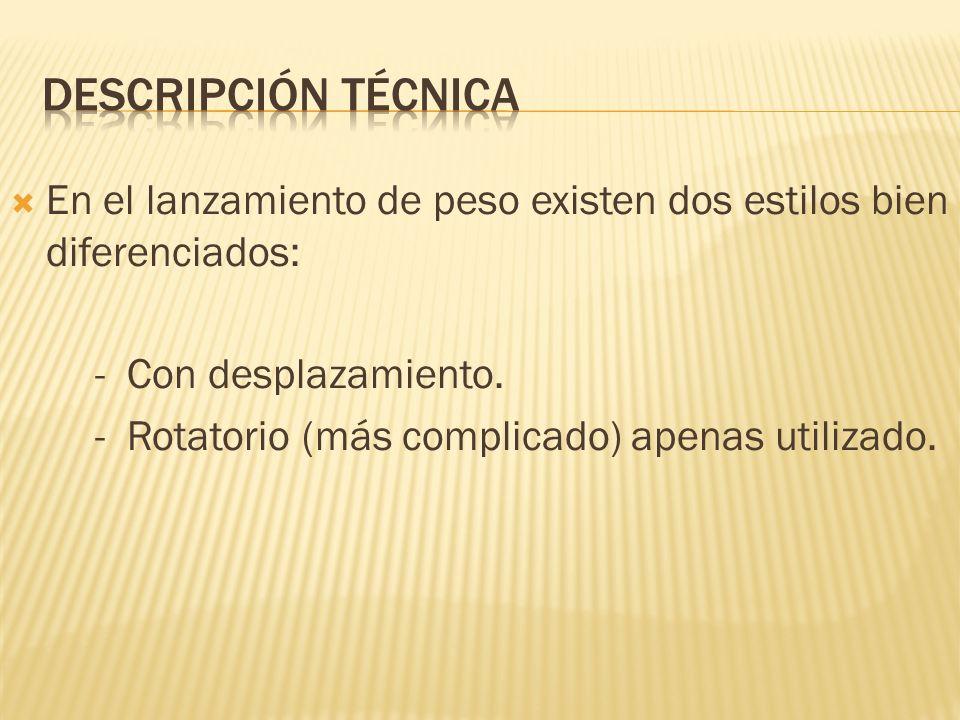 En el lanzamiento de peso existen dos estilos bien diferenciados: - Con desplazamiento. - Rotatorio (más complicado) apenas utilizado.