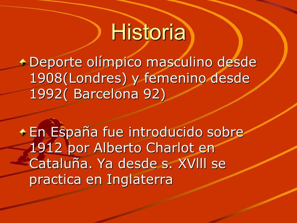 Historia Deporte olímpico masculino desde 1908(Londres) y femenino desde 1992( Barcelona 92) En España fue introducido sobre 1912 por Alberto Charlot