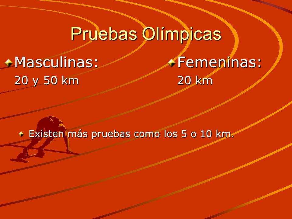 Pruebas Olímpicas Existen más pruebas como los 5 o 10 km. Masculinas: 20 y 50 km Femeninas: 20 km