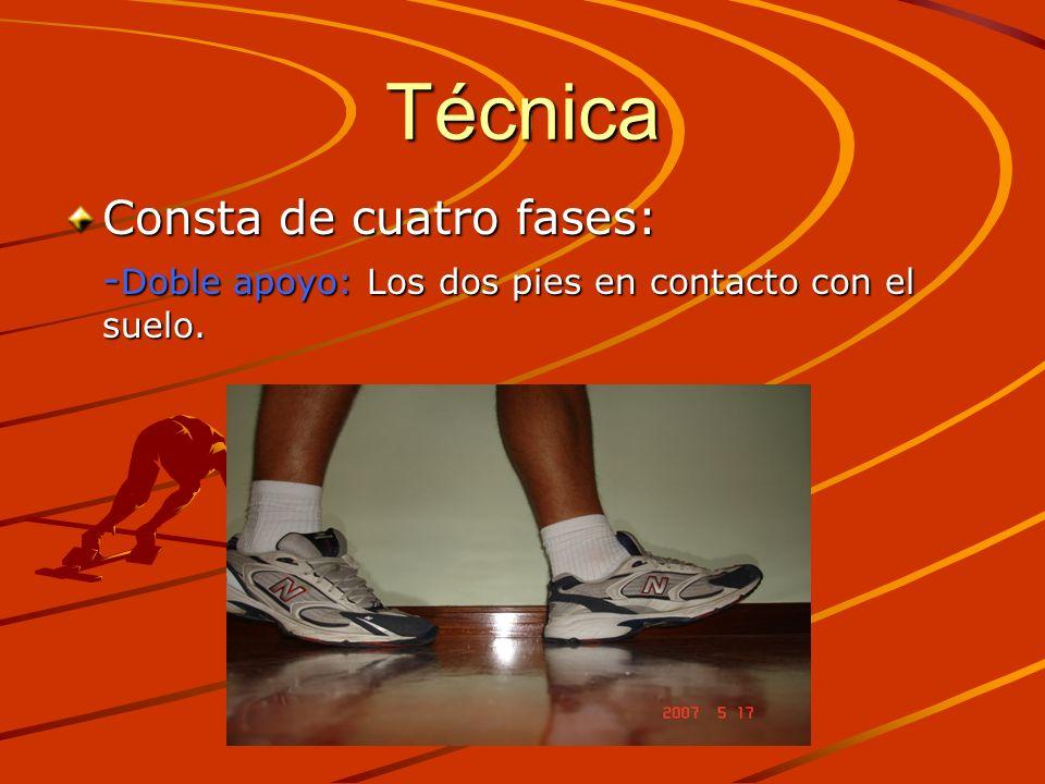 Técnica Consta de cuatro fases: - Doble apoyo: Los dos pies en contacto con el suelo.