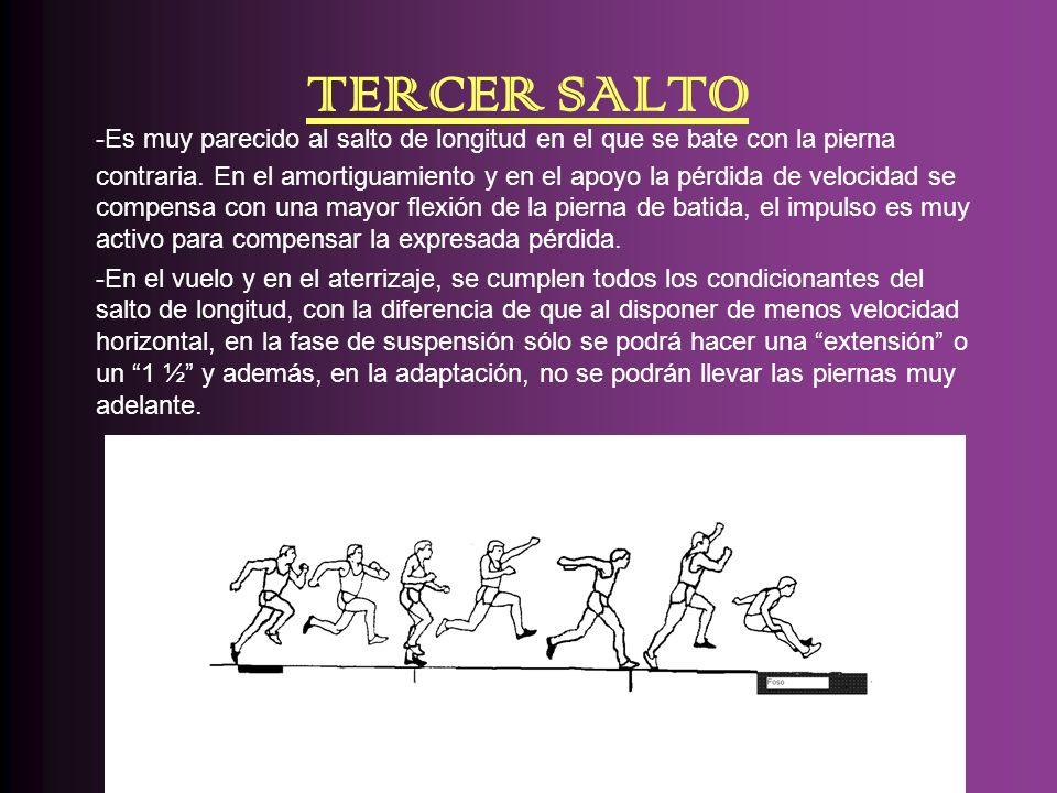 TERCER SALTO -Es muy parecido al salto de longitud en el que se bate con la pierna contraria. En el amortiguamiento y en el apoyo la pérdida de veloci
