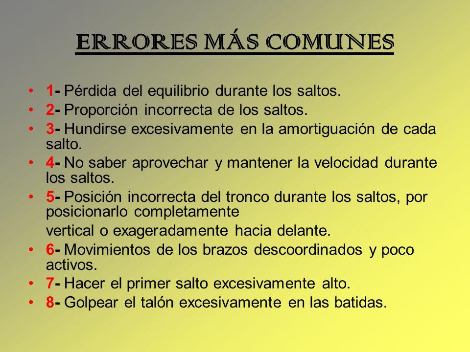 ERRORES MÁS COMUNES 1- Pérdida del equilibrio durante los saltos. 2- Proporción incorrecta de los saltos. 3- Hundirse excesivamente en la amortiguació