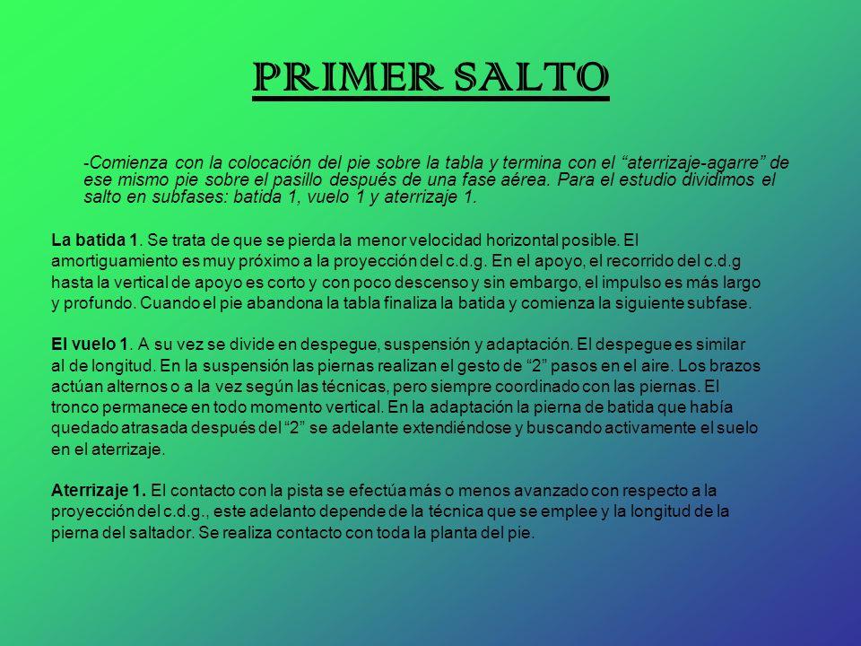 PRIMER SALTO - Comienza con la colocación del pie sobre la tabla y termina con el aterrizaje-agarre de ese mismo pie sobre el pasillo después de una f